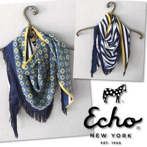 🆕 ECHO BLUE WHITE YELLOW STRIPED TRIANGLE SCARF